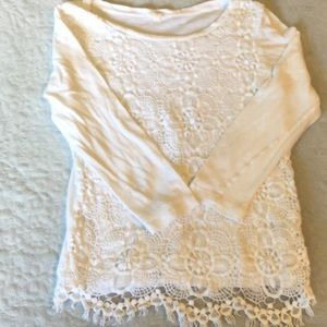 JCrew top with lace over front size s
